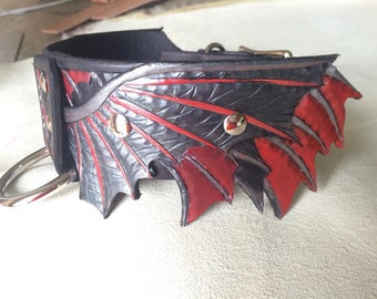Leather Dog Collar Hand Tooled Wing (DRACULA)
