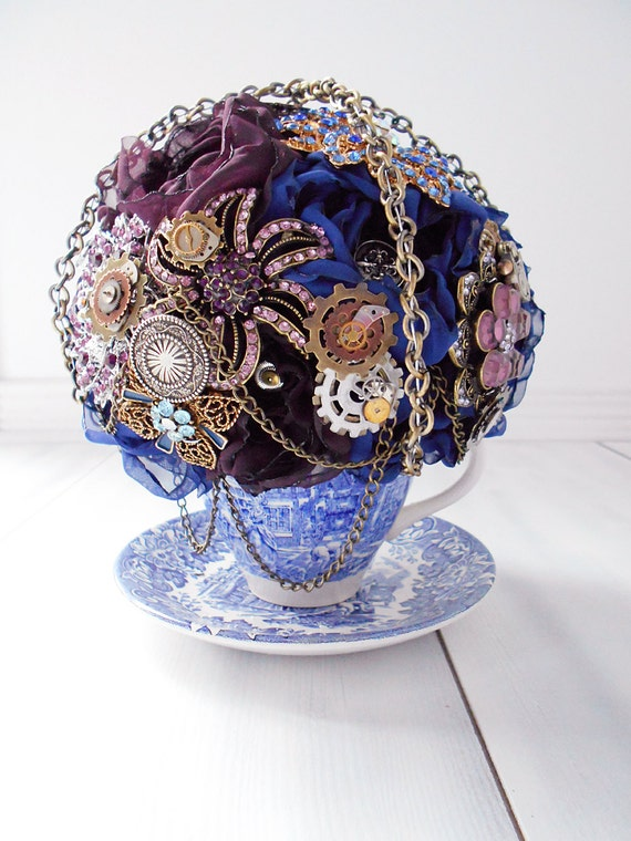 Custom Vintage Teacup Brooch and Fabric Flower Bouquet, Steampunk Bouquet, Bridal Bouquet, Wedding Bouquet, Jeweled Bouquet - 5 inch Bouquet