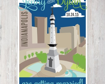 Printable Save the Date Card/Postcard - Indianapolis Monument Circle Theme