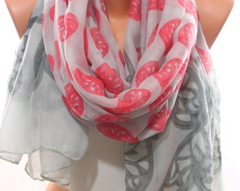 Valentine Gift Heart Printed Light Grey Scarf Spring Scarf Summer Scarf Infinity Scarf Women Fashion Accessories Trend Gift Ideas For Her