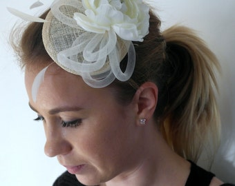 Ivory Fascinator, Ivory Stripped Coque Feathers,  Cream White Ruffle Ranunculus Blossom, Ivory Hair Accessory, Comb