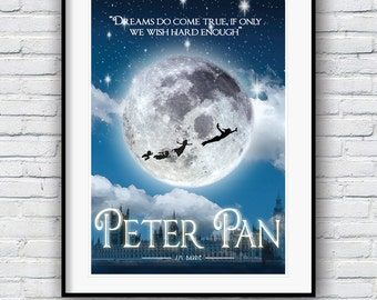Peter Pan,  J. M. Barrie, Literature Poster, Quote Print, Nursery Art, Wall Decor,  Typographic Print, Minimalist