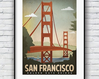 San Francisco Print, Retro Poster, Golden Gate Bridge, San Francisco Art, Vintage Poster, City by the Bay poster