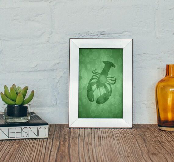 Lobster art print 4 x 6 5 x 7 beach bathroom decor sealife for Bathroom designs 5 x 7