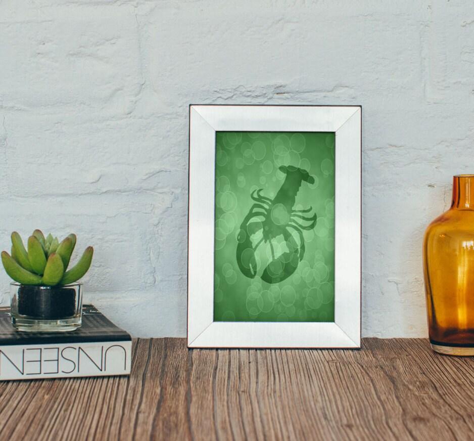 Lobster art print 4 x 6 5 x 7 beach bathroom decor sealife for Bathroom designs 7 x 4