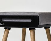 NEW !! Stool / Seat / Ottoman / bench in black lacquer and oak legs