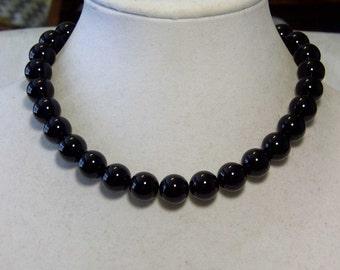 "Cynthia Lynn ""SIMPLE ELEGANCE"" Chunky 14mm Black Agate Beaded Necklace 16""-18"""