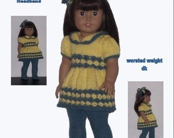 Dolls Clothes PDF knitting pattern for 18 to 19 inch dolls, Top and Tights, fits AG, Our Generation, Gotz, and similar size dolls.