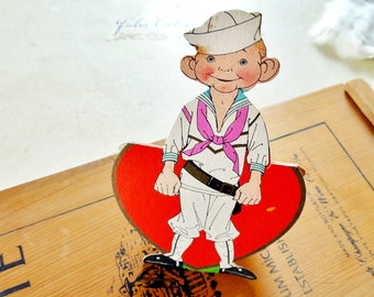 Vintage Sailor Valentine -Carrington 1930's 1940's Valentines Day Card, Stand up card