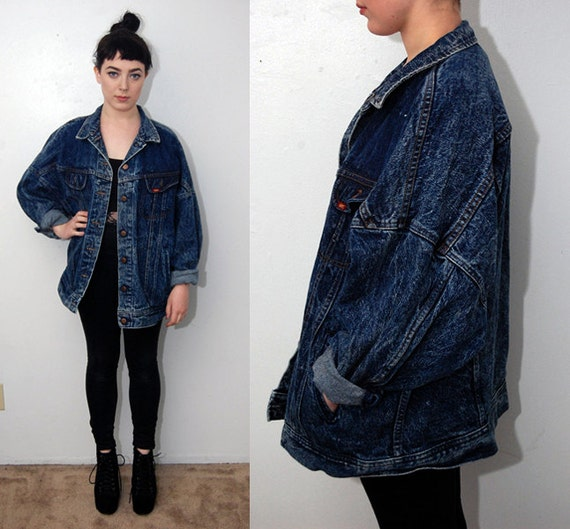 vintage DENIM JACKET M acid wash dark blue by GhostVintageClothing