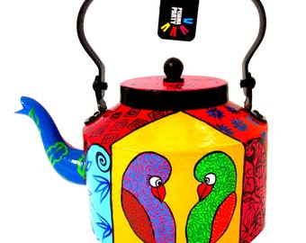 Love Birds-hand-painted teapot/kettle form India