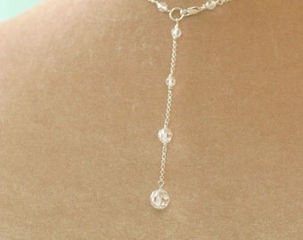 Back drop necklace, back drop bridal necklace, Swarovski crystal necklace wedding - Nancy