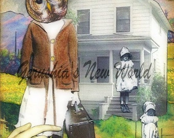 Petula's Thoughtful Journey (Tiny Tale Art) - Anthropomorphic, Collage, Print, owl, fairy tale art