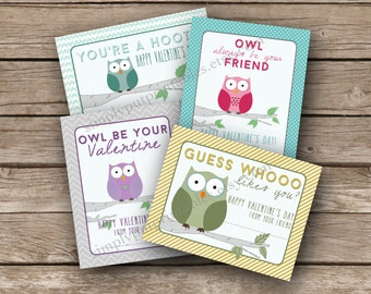 Owl Valentine Card Printable | Kid School Valentine's Day | Child's Valentine | Girl Valentines | Classroom | 3.5 X 4.5 Instant Download