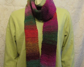 Colorful Striped Wool Scarf, Hand Knit, Long and Wrappable