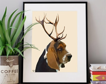 Basset Hound Art Print - Basset Hound with Antlers - Basset House print Basset hound picture basset hound painting gift for dog lover gift