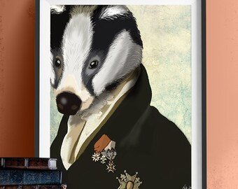 Badger The Hero - Military Badger Print steampunk badger Painting digital illustration Wall Decor wall art animal badger gift badger art