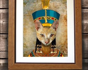 Abyssinian Cat Art Print - Egyptian Cat Queen - Cat canvas print Sphynx cat cat wall decor cat print cat portrait egyptian poster cat poster