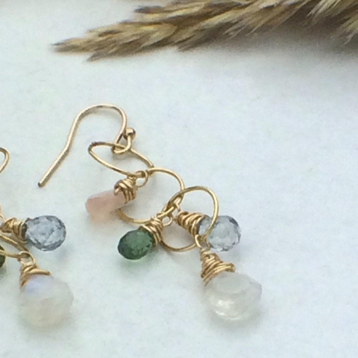 multi gemstone earrings wire wrapped by nicolekaydesigns