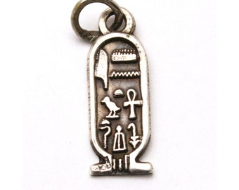 Ancient Egypt Cartouche Bracelet Charm Vintage 900 Silver King Tut Hieroglyph Pendant