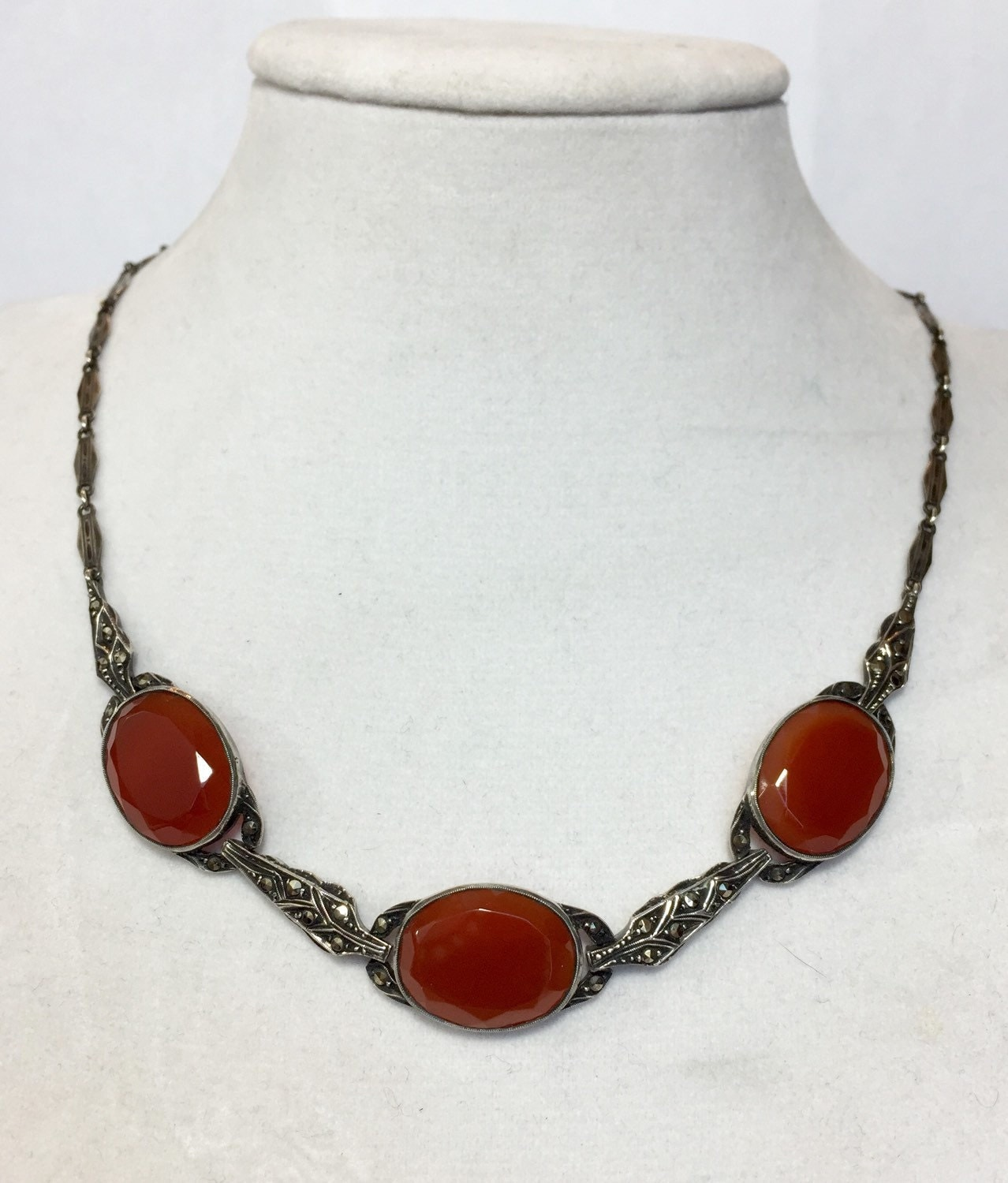 Antique Sterling Silver Carnelian Necklace Vintage Art Deco