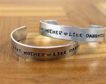 Like Mother Like Daughter Bracelet Set / Mother Daughter Gift / Gift for Daughter / Gift for Mother / Personalized Aluminum Cuff Bracelet