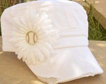 Baseball MOM Hat, Custom white baseball mom flower hat with distressed cadet hat and white flower and rhinestone baseball