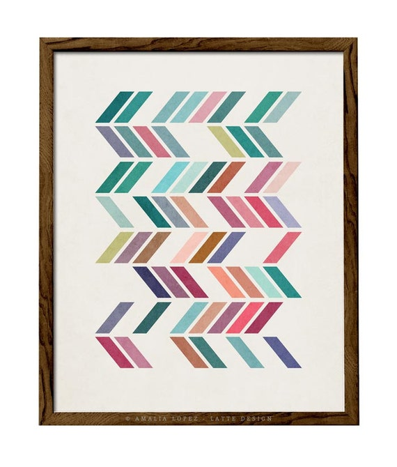 Slanted 1 Geometric Art Retro Wall Art Mid Century Print