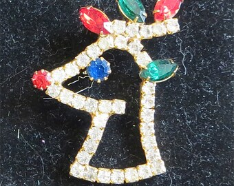 Vintage Festive Christmas Rudolph The Red Nosed Reindeer Rhinestone Brooch Pin Gold Tone - Free Shipping