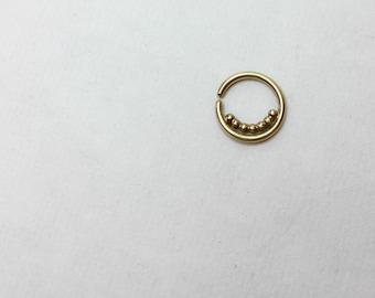 Solid Gold Septum Ring, Gold Septum Jewelry, Gold Nose Ring, Gold Septum Ring 16g, Gold Septum Ring 14g, Gold Septum Piercing, India Septum