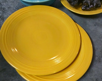 Vintage Fiestaware Yellow Plate Set
