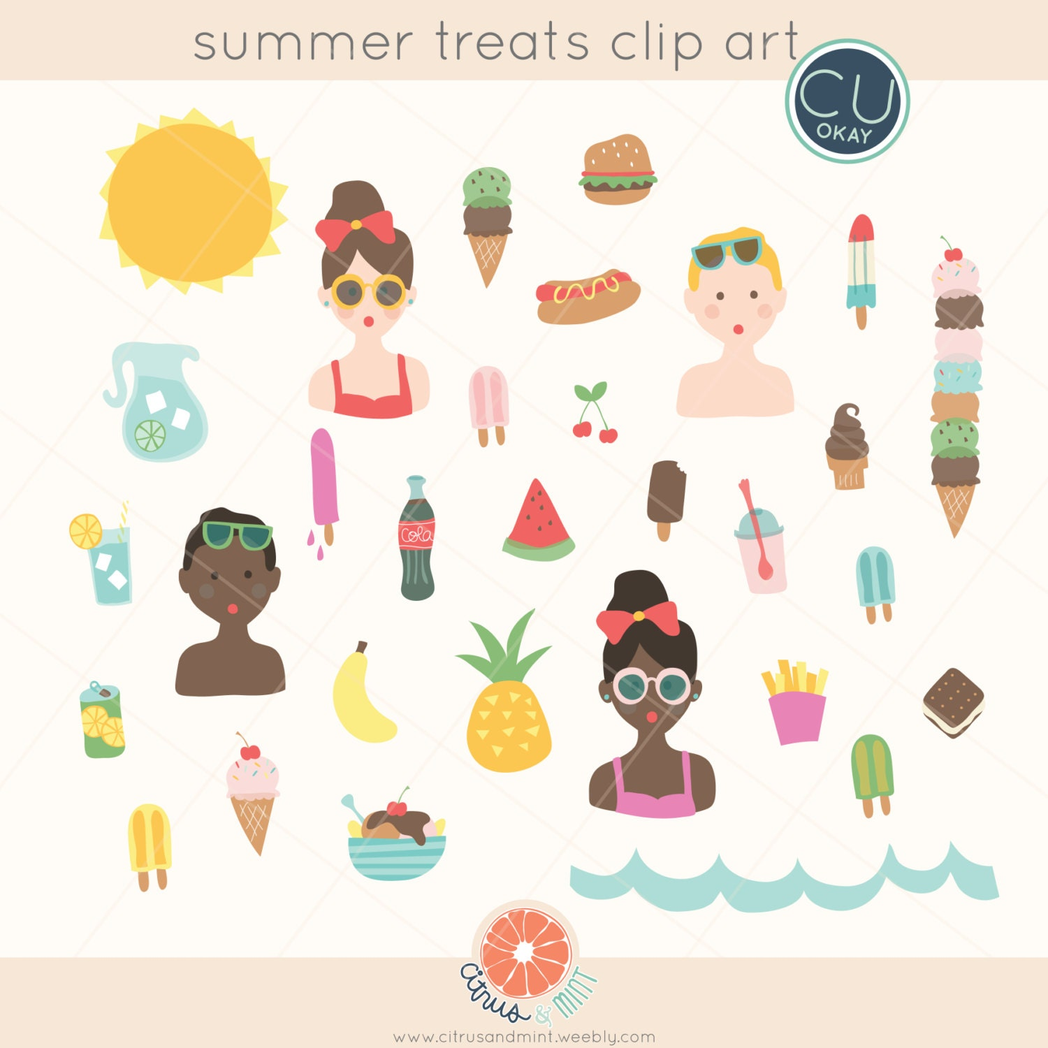 Summer Food Clipart Pool Party Graphics Ice Cream Hand