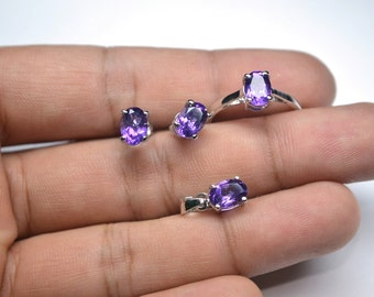 Best Gift 925 Sterling Silver 5x7MM Amethyst Oval Pendant,Ring,Studs,Bridemaid Set/Gift/Bridemaid Gift/Girlfriend/Gift/Gift For Her(No-13)
