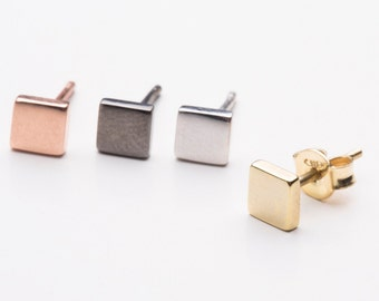 Solid gold studs  Square stud earrings gold square studs Tiny square earrings  Rose square posts Geometric jewelry Square earrings