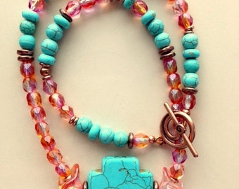 Turquoise Cross, Sunset Color Swarovski Crystals and Copper Necklace