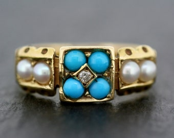 Antique Turquoise Ring - Victorian 18ct Gold Turquoise Pearl & Diamond Ring