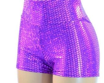 Purple High Waist Mermaid Fish Scale Spandex Booty Shorts Plurmaid  150575