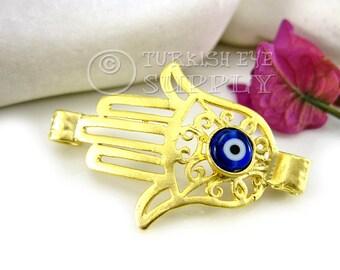 22K Gold Plated Hamsa, Hand of Fatima Connector with Navy Evil Eye, Hamsa Bracelet Connector, Turkish Jewelry