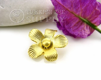 10 pc Flower Charms, Matte 22K Gold Flower Charms, Turkish Jewelry
