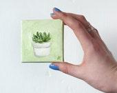Little Plant Succulent Painting Plant Art // 7x7cm on Canvas & Easel