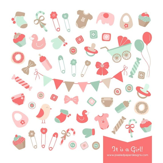 Baby Girl Clip Art - It is a Girl! Digital Graphics for Photography, Birthday, Baby Shower, DIY, etc | Commercial License Available