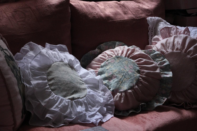 Shabby Chic Ruffle Pillows : Shabby Chic pillows Round Pillow cover Ruffle by ShabbyAnnieCorner