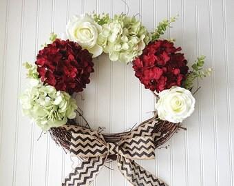 spring door wreath. spring wreath. red hydrangea wreath, green hydrangea wreath. spring door wreath. housewarming.