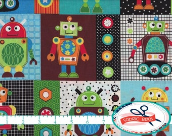 ROBOT Fabric by the Yard, Fat Quarter GEARHEADS Fabric Blue & Red Fabric Boy Fabric Quilting Fabric Apparel Fabric 100% Cotton Fabric t6-26