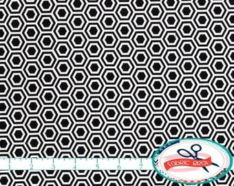 BLACK & WHITE Fabric by the Yard, Fat Quarter Hexagon Fabric Geometric Fabric Honeycomb Fabric Quilting Fabric 100% Cotton Fabric w1-16
