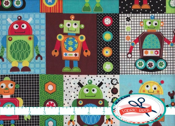 Robot fabric by the yard fat quarter gearheads fabric blue for Robot quilt fabric