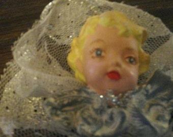 Darling Painted SIlver Angel or Cherub Ornament