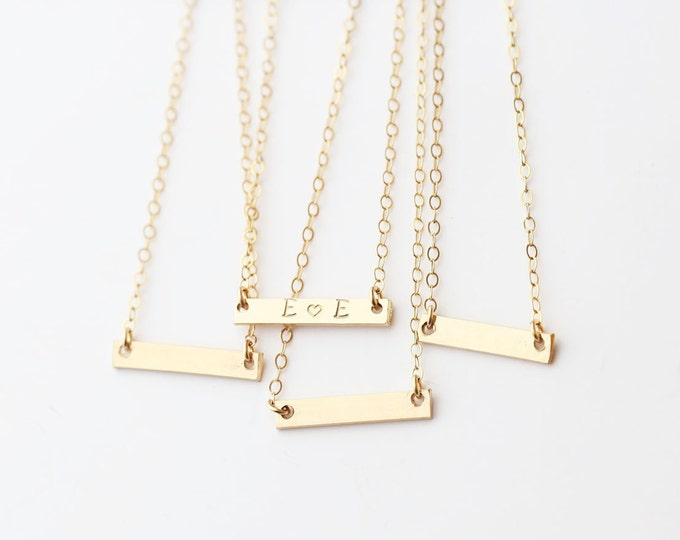 Mini personalized Skinny Bar Necklace - gold name bar necklace in 14K Gold filled //Sterling silver EP012