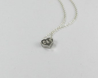 Two Initial Heart bracelet.Two Letter & Ampersand Necklace ,Personalized heart jewelry. Love necklace. His or Her's Initial. 2 letter Hearts
