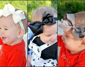 Baby girl headbands, black bow, cream bow, gray bow, bow on clip, cream headband, black headband, gray headband, baby bows, infant girl